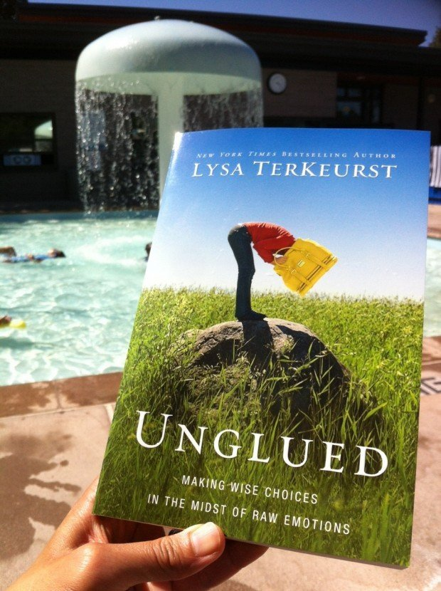 "Reading Lysa's ""Unglued"" poolside as the boys enjoy summer's end"