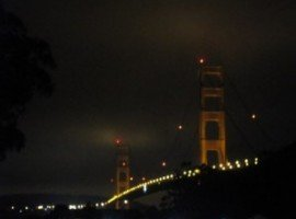 Golden Gate Bridge aglow on that warm summer's night